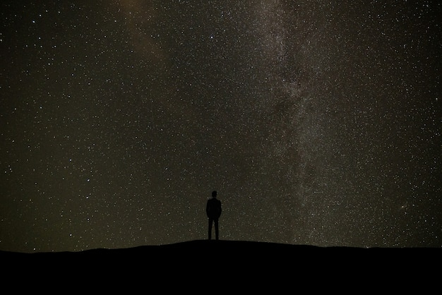 The man standing on the background of a sky with stars