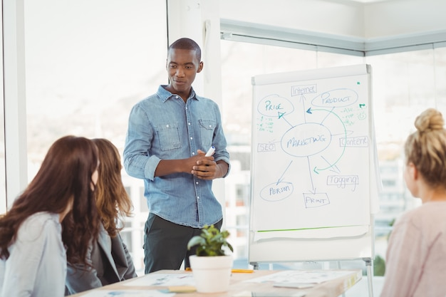 Man standing by white board while discussing with coworkers