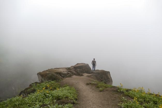 꽃의 안개 길을 바라보는 계곡의 절벽에 서 있는 남자