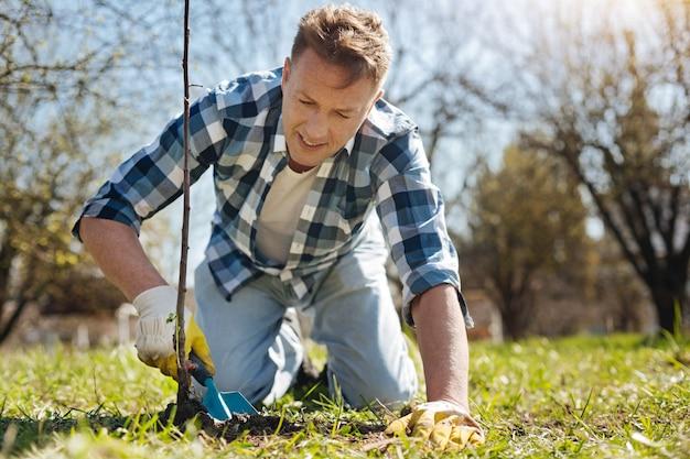 그의 뒤뜰 정원에서 토양 국자를 사용하여 새로 심은 나무를 돌보고 무릎에 서있는 남자 프리미엄 사진