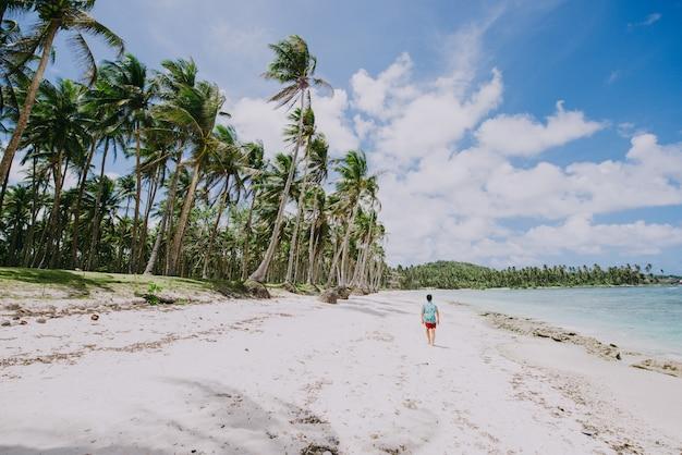 ビーチに立って、景色を眺めながら熱帯の場所を楽しんでいる男。カリブ海の色とバックグラウンドでヤシの木。旅行とライフスタイルについての概念