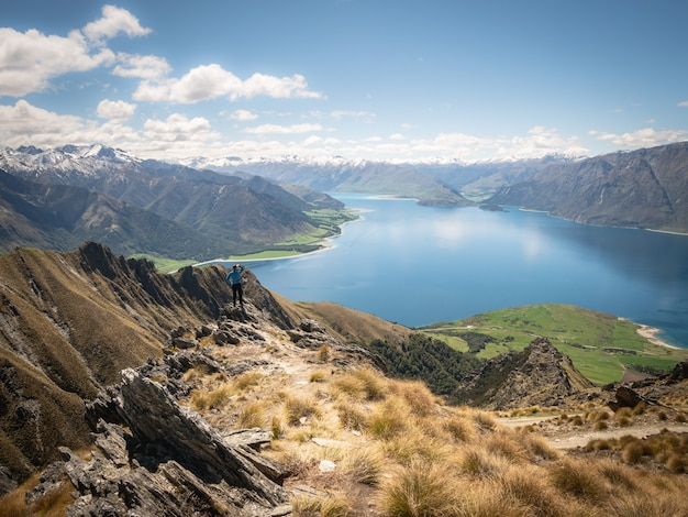 緑豊かな牧草地ニュージーランドと美しい景色を楽しむ岩の端に立っている男