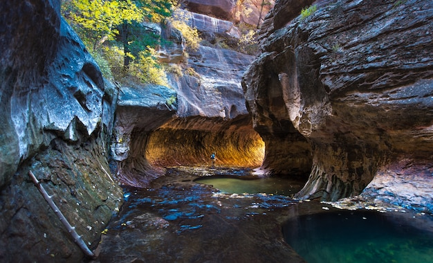 A man standing at the subway, zion national park