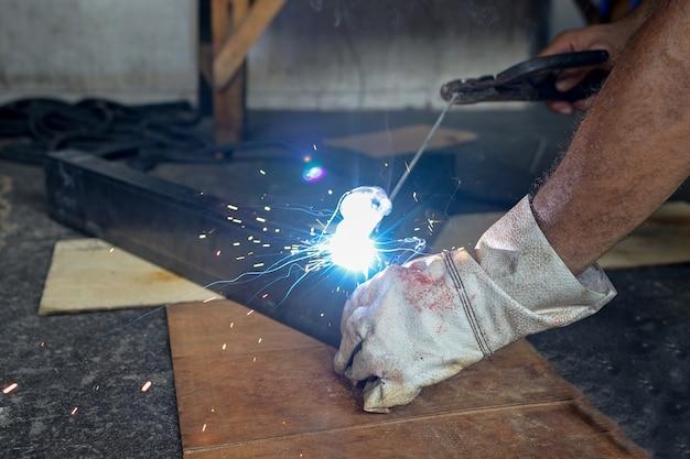 Man steel welding