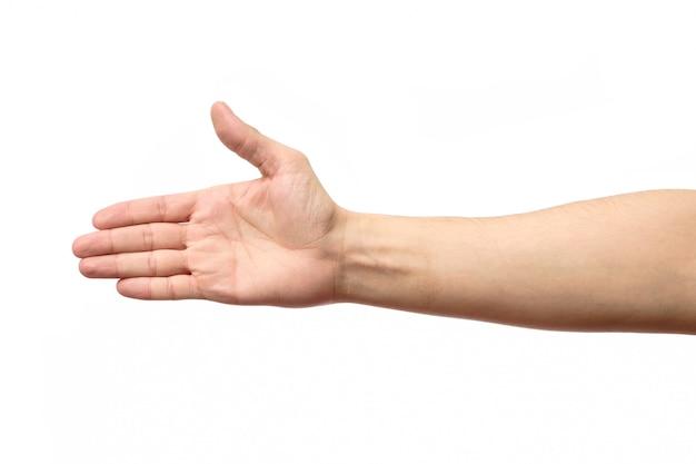 Man stretching hand to handshake isolated