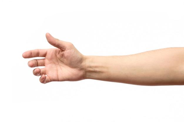 Человек протягивает руку к рукопожатию изолированы