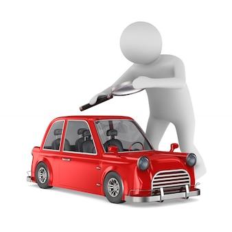 Человек изучает красный автомобиль на белом пространстве
