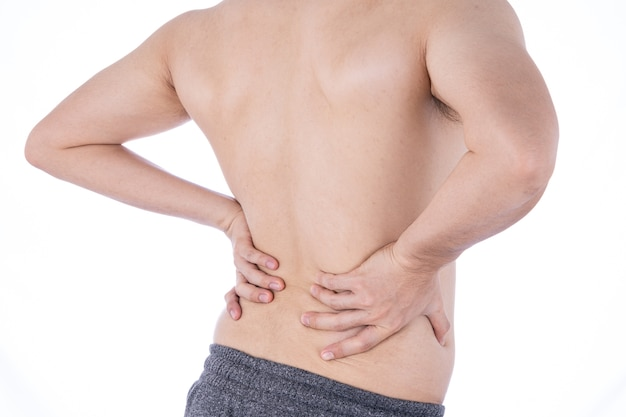 Man suffering from waist and back pain
