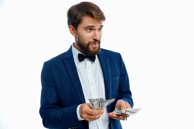 Man in a suit finance success isolated background