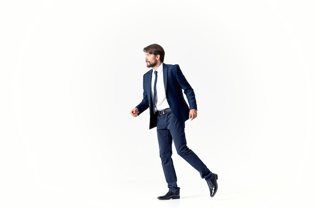 The man in a suit movement jump office studio