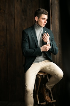 Man in suit in studio