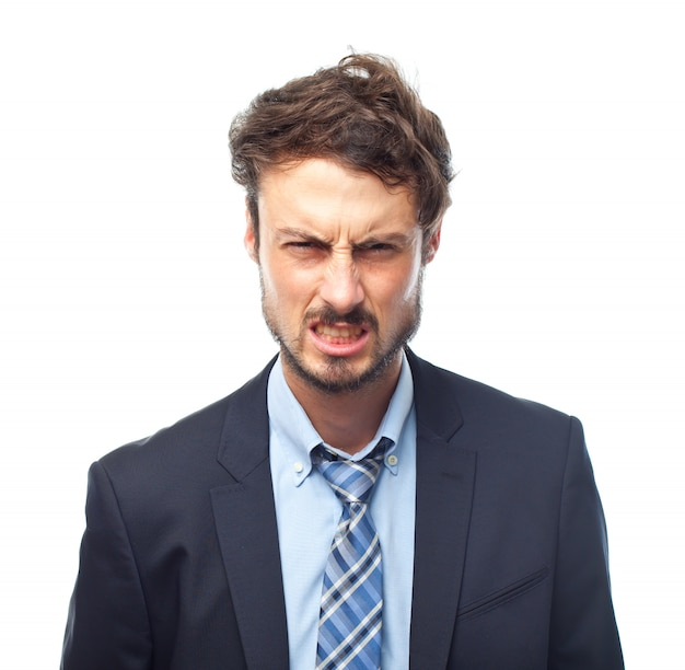Man in suit with angry face