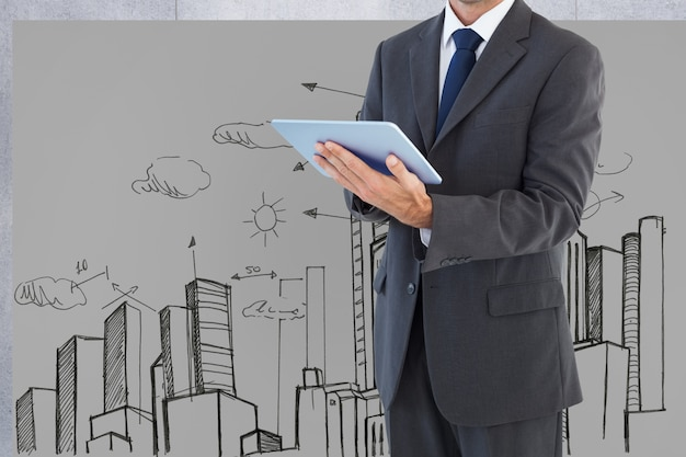 Man in suit with a tablet and background of a city drawn
