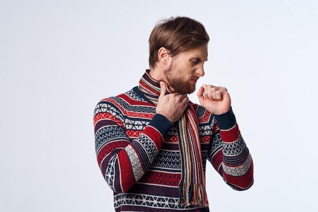 Man sweater health problems flu infection studio