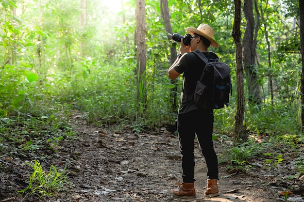 Man taking photographs in forest