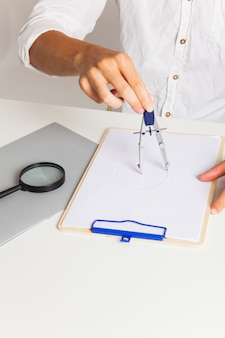 Man at technical drawing