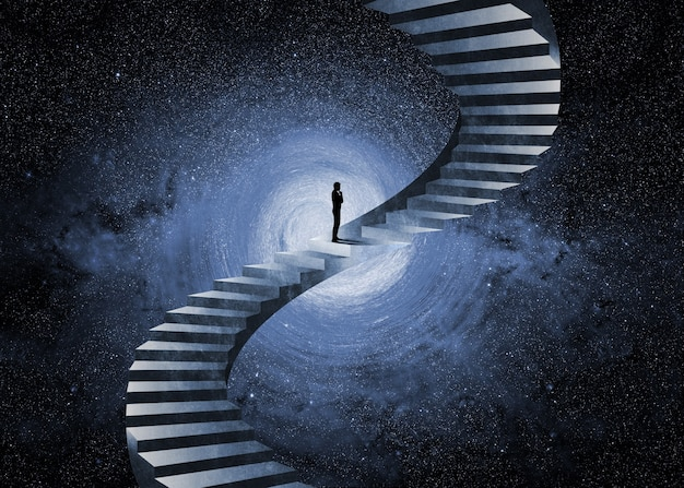 Man thinking in front of an impossible staircase