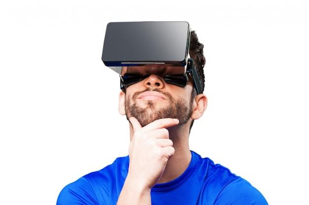 Человек мышления с дополненной реальности очки