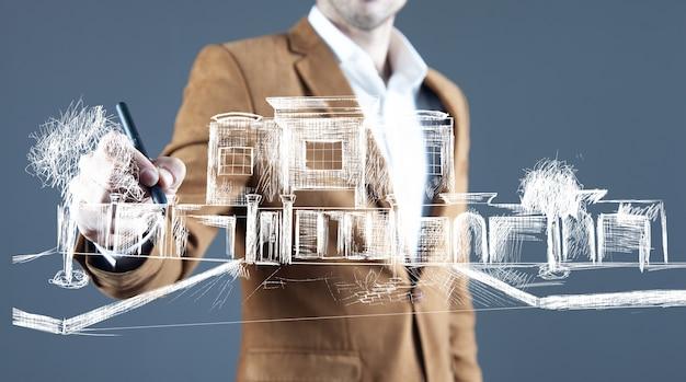 Man touching buildings in screen rendering