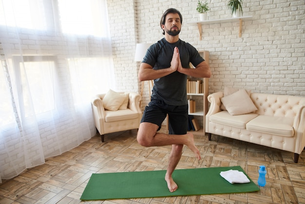 Man training at home and lifestyle concept