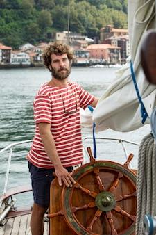 Man travelling by boat in san sebastian