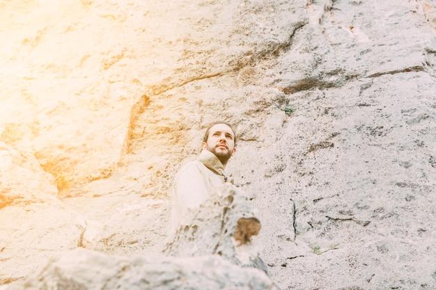 Man trekking in mountains