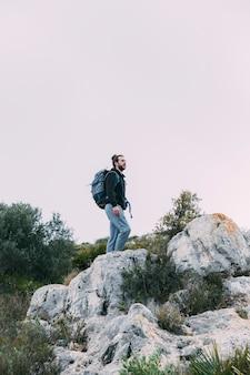 Man trekking in nature