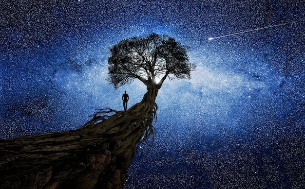 Человек под деревом перед вселенной