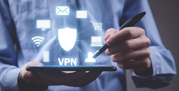 デジタルタブレットを使用している人。 vpnの概念
