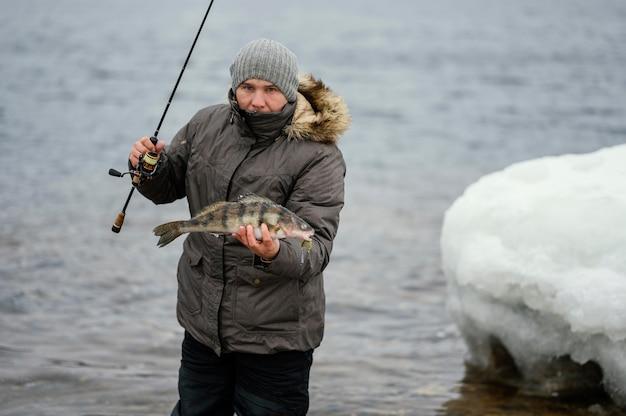 Man using a fishing rod to catch fish