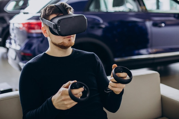 Man using and playing with vr glasses