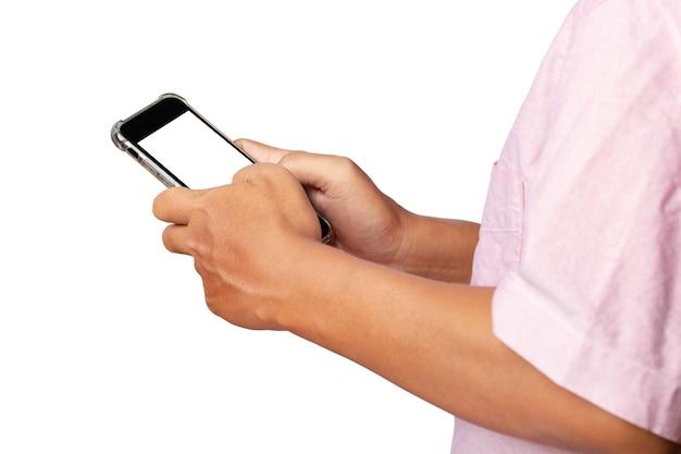 白い背景で隔離のスマートフォンを使用して男。クリッピングパス。