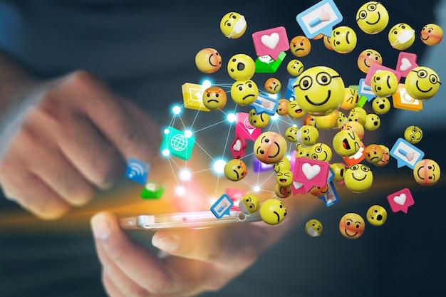 スマートフォンを使用してテキストメッセージの絵文字アイコンを送信する男。ソーシャルネットワークの概念、3dレンダリング