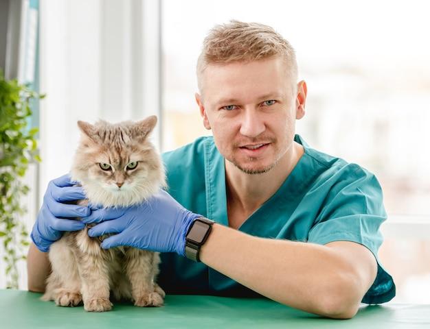 獣医クリニックでの予約中にゴム手袋で手で猫を保持している男性獣医 Premium写真