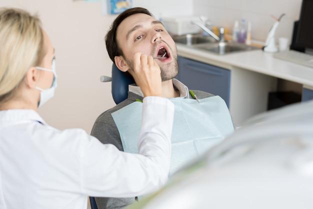 Man visiting dentist