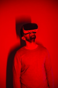 Man in vr glasses looking up