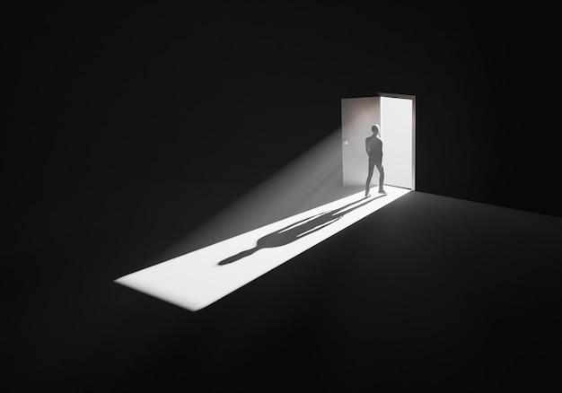 Man walking out of a dark room through opened door