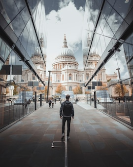 Man walking towards st. paul's cathedral in central london