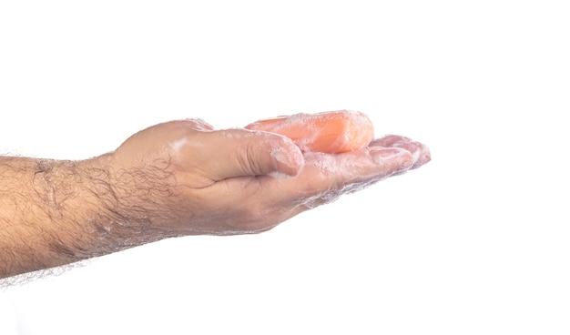 흰색, 위생 개념, covid19 예방, 박테리아, 건강 관리 개념에 비누를 사용하여 손을 씻는 사람