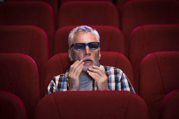 Uomo che guarda un film al cinema