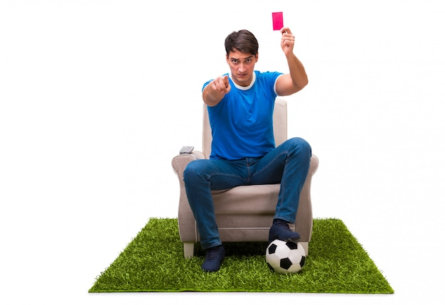 Man watching sports isolated