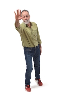Man waving on white