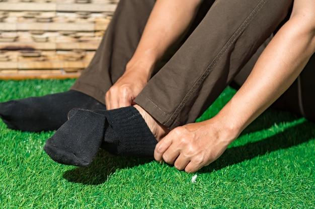Man wearing black socks