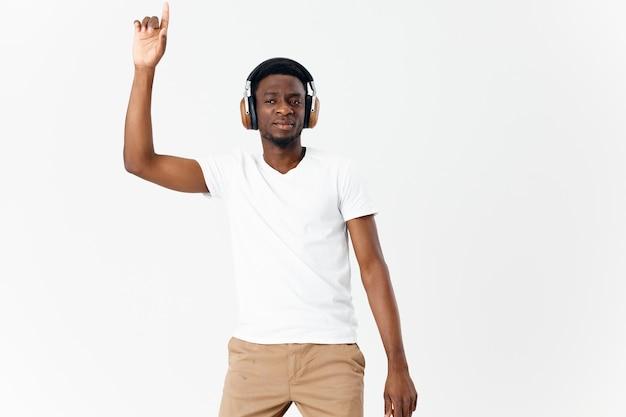 Man wearing headphones music lover entertainment dancing lifestyle