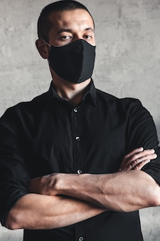 Man wearing hygienic mask to prevent infection