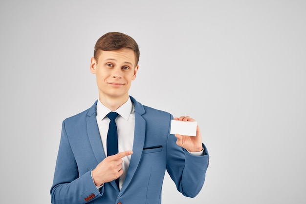Man wearing identity card copy space advertising