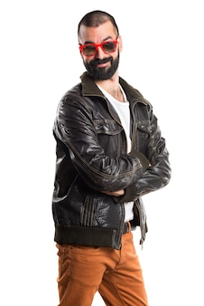 Man wearing a leather jacket