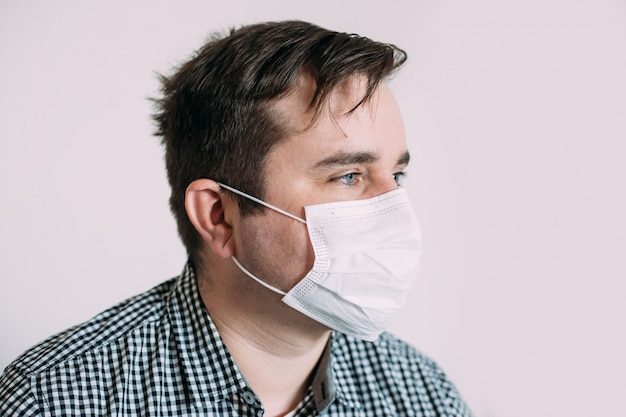 Man wearing protective mask to protect from viruses
