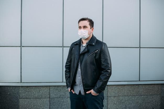 Man wearing protective mask at street