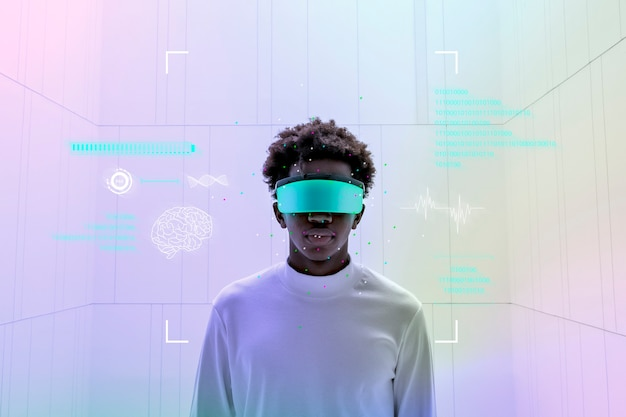 スマートグラスを着用し、ホログラフィックスクリーンの未来技術を示す男